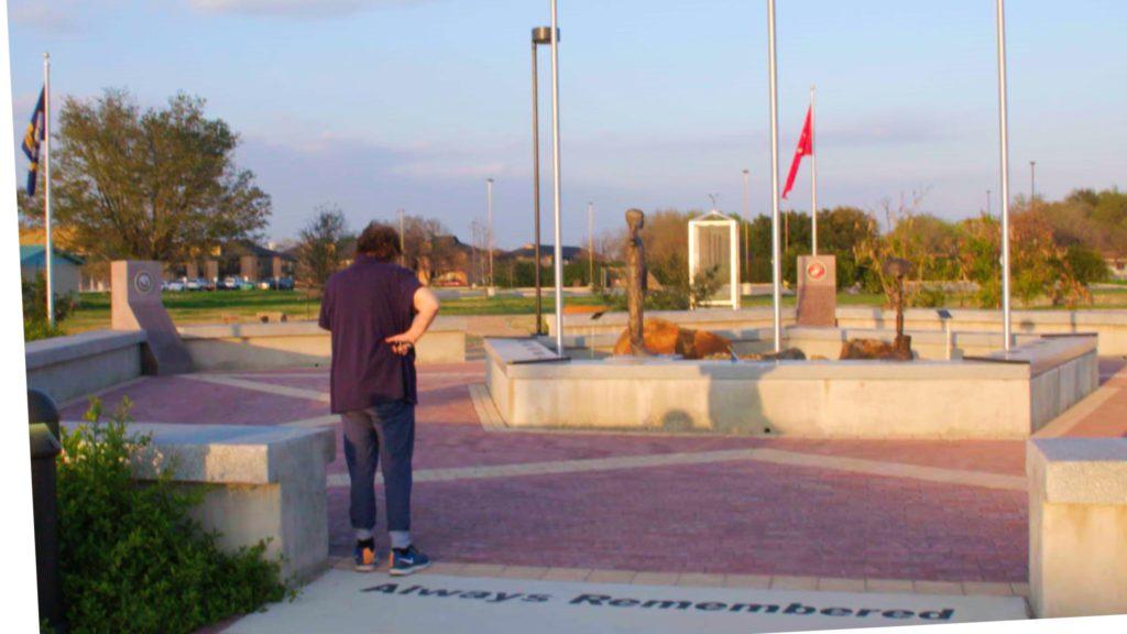 Donut Dollie Mary Blanchard Bowe entering Veterans Memorial Plaza in Schertz, TX